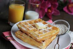 Waffles with powered sugar Stock Images