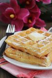 Waffles with powered sugar Royalty Free Stock Photo