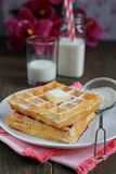 Waffles with powered sugar Royalty Free Stock Photography