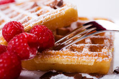 Waffles and raspberries Royalty Free Stock Photography