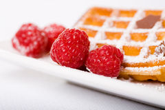 Waffles and raspberries Royalty Free Stock Image