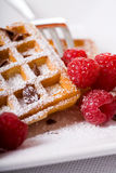 Waffles and raspberries stock photography
