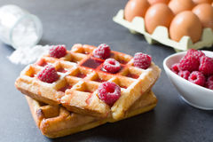 Waffles with raspberries Royalty Free Stock Photography