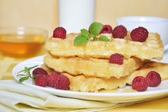 Waffles with raspberry Royalty Free Stock Photography