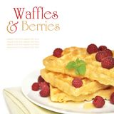 Waffles and raspberry Royalty Free Stock Photography