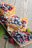 Waffles with raspberry and blueberry Stock Photography