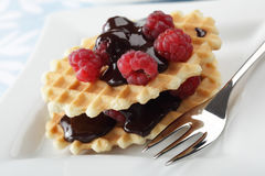 Waffles with raspberry and chocolate Royalty Free Stock Image