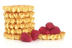 Waffles and Raspberry Fruit Stock Image