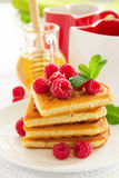 Waffles with raspberry, Royalty Free Stock Images