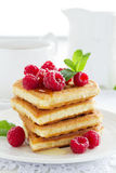 Waffles with raspberry, Royalty Free Stock Photography