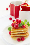 Waffles with raspberry, Stock Images