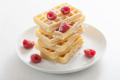Waffles with raspberry and icing sugar Royalty Free Stock Images