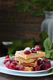 Waffles with raspberry Stock Photography