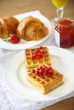 Waffles with red currant jam and berries, croissants, orange jui. Waffles with red currant jam and berries on a white plate, croissants, orange juice on the Stock Photo