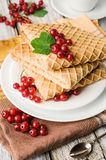 Waffles with red currants Royalty Free Stock Image