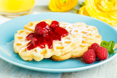 Waffles with red fruit jelly Stock Photography