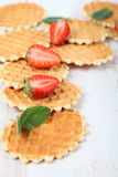 Waffles and ripe strawberries. Royalty Free Stock Photos