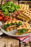 Waffles sandwich stock photography
