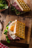 Waffles sandwich with eggs Royalty Free Stock Photo