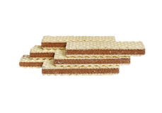 Waffles. Several long rectangular waffles on a white background royalty free stock images
