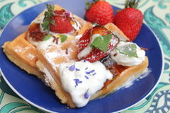 Waffles. Some waffles with cream and strawberries stock photos