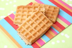 Waffles. Some waffles made of wheat flour and sugar royalty free stock image
