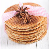 Waffles with star anise and a decorative ribbon Royalty Free Stock Image