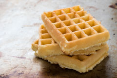 Waffles on steel plate Royalty Free Stock Photos