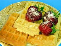 Waffles with strawberries Royalty Free Stock Photos