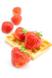 Waffles and strawberries Stock Image