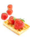 Waffles and strawberries Stock Images