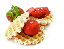 Waffles and Strawberries Stock Photo