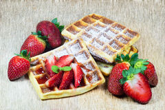 Waffles with strawberries Stock Photography
