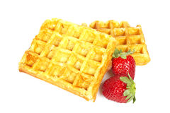 Waffles and strawberries Royalty Free Stock Image
