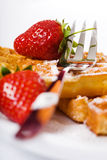 Waffles and strawberries Royalty Free Stock Images