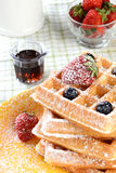 Waffles With Strawberries and Blueberries Stock Images
