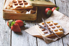 Waffles with strawberries Stock Photo