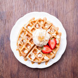 Waffles with strawberries and ice cream,Top view Royalty Free Stock Photography