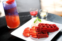 Waffles with strawberry Stock Photography