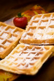 Waffles with strawberry Royalty Free Stock Photos
