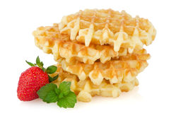 Waffles and strawberry Stock Image