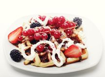 Waffles with strawberry and blackberry Stock Image