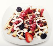 Waffles with strawberry and blackberry Stock Photography