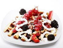Waffles with strawberry and blackberry Royalty Free Stock Photos