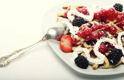 Waffles with strawberry and blackberry Stock Photos