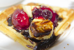 Waffles with strawberry Royalty Free Stock Photo