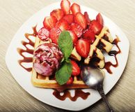 Waffles with strawberry and ice cream Stock Photo