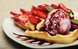 Waffles with strawberry and ice cream Royalty Free Stock Photography