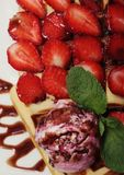 Waffles with strawberry and ice cream Stock Image