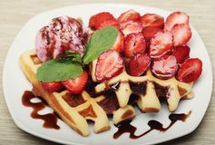 Waffles with strawberry and ice cream Stock Photography